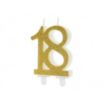 Velas cumpleaño numero 18, oro, 7.5cm