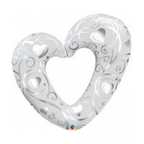 Globo foil 42 pulg (106Cm) Corazón Hearts & Filigree Blanco perla
