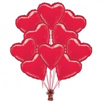 Ramo globos 10 corazones rojos