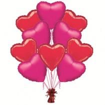 Ramo globos 10 corazones rojos y fucsias