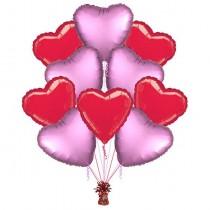 Ramo globos 10 corazones rojo y rosa
