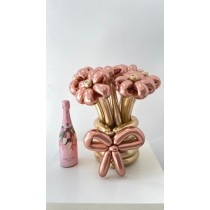 Ramo de Flores con Globos Margarita con CAVA rosado