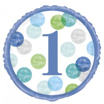 globo metalizado de 18 pulgadas / 45,72 cm primer cumpleaños puntos azul
