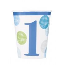 8 vasos de carton de 26,6 cl primer cumpleaños puntos azul