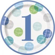 8 platos redondos de 9 pulgadas / 22,86 cm primer cumpleaños puntos azul