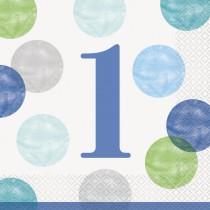 16 servilletas grandes primer cumpleaños puntos azul