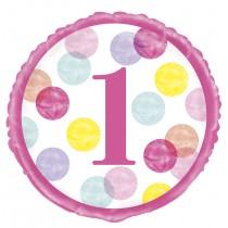 globo metalizado de 18 pulgadas / 45,72 cm primer cumpleaños puntos rosa