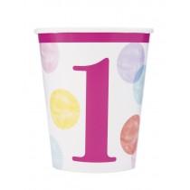 8 vasos de carton de 26,6 cl primer cumpleaños puntos rosa