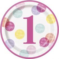 8 platos redondos de 9 pulgadas/ 22,86 cm primer cumpleaños puntos rosa