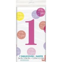 mantel del plástico  tamaño 137,16 x 274,32 cm primer cumpleaños puntos rosa