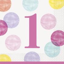 16 servilletas grandes primer cumpleaños puntos rosa
