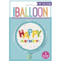 globo metalizado de 18 pulgadas / 45,72 cm Happy Balloon Birthday empacado