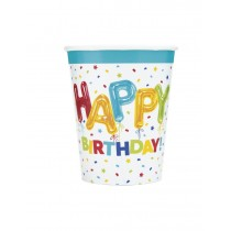 8 vasos de carton Happy Balloon Birthday de 26,6 cl