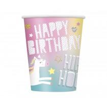 8 vasos de carton de 26,6 cl unicornio