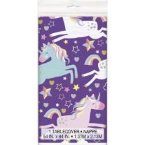 mantel del plástico  tamaño 137,16 x 274,32 cm unicornio
