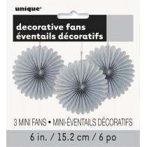 3 unidades decoracion de papel nido de abeja de 6 pulgadas / 15,24 cm plata