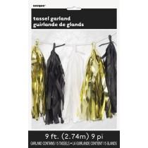 guirnalda de papel color oro, negro y blanco
