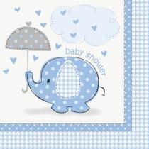 16 unidades servilletas grandes elefantes azules