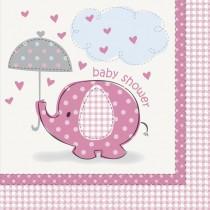 16 unidades servilletas grandes elefante rosa