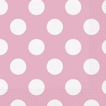 16 unidades servilletas grandes rosa claro / lunares
