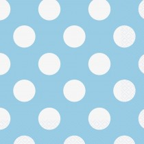 16 servilletas grandes azul celeste / lunares