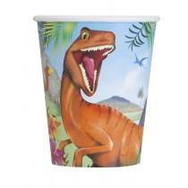 8 vasos de carton de carton  de 26,6 cl dinosaurio