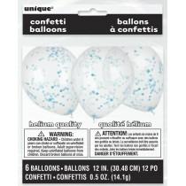 globo látex transparente de 12 pulgadas/ 30,48 cm con confeti azul bebé - 6 unidades