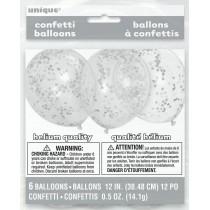 globo látex transparente de 12 pulgadas/ 30,48 cm con confeti plata - 6 unidades