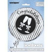globo metalizado empacado de 18 pulgagas / 45,72 cm Congrats empacado