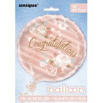 globo metalizado empacado de 18 pulgadas / 45,72 cm oro y rosa floral congratulations