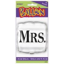 globo metalizado empacado de 18 pulgadas / 45,72 cm plata boda Mrs.