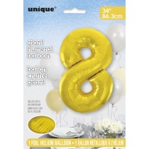 globo metalizado empacado número de 34 pulgadas/ 86,36 cm oro - 8