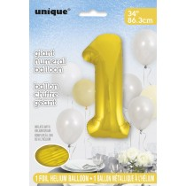 globo metalizado empacado número de 34 pulgadas/ 86,36 cm oro - 1