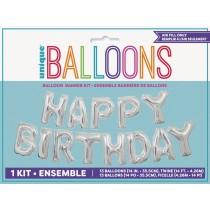 Guirnalda de globos metalizados Happy Bday de 14 pulgadas / 35,5 cm  - plata