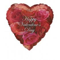globo metalizado empacado de 18 pulgadas / 45,72 cm corazones y rosas