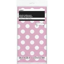 mantel del plástico  tamaño 137,16 x 274,32 cm rosa claro lunares