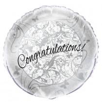 globo metalizado de 18 pulgadas / 45,72 cm  empacadoboda congratulations plata mariposas