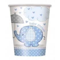 8 vasos de carton elefantes azules de 26,6 cl