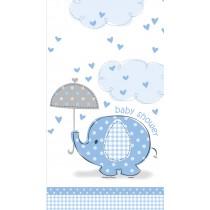 mantel del plástico  tamaño 137,16 x 274,32 cm elefantes azules