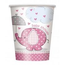 vasos de carton elefante rosa de 9 onzas