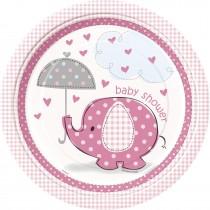 8 unidades platos elefante rosa de 9 pulgadas
