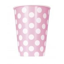 6 vasos de carton de 26,6 cl rosa claro / lunares