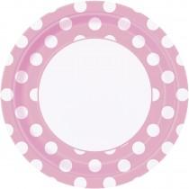 8 unidades platos de 9 pulgadas / 22,86 cm rosa claro / lunares