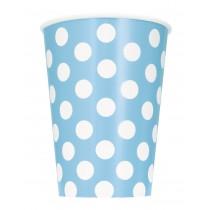6 vasos de carton de 26,6 cl azul celeste / lunares