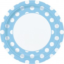 8 unidades platos de 9 pulgadas / 22,86 cm azul celeste / lunares