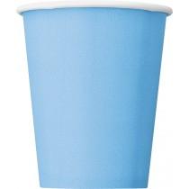 8 vasos de carton de 26,6 cl azul bebé