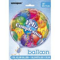 globo metalizado empacado 18 pulgadas/ 45,72 cm feliz cumpleaños