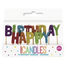 13 velas arcoiris con purpurina Happy Birthday