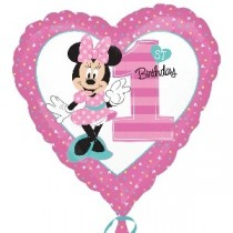 Globo Primer Cumpleaños Minnie Mouse Metalizado - Metalizado 45cm