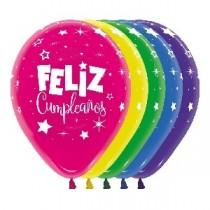 Globo Latex R12 Sempertex Duo Surt Feliz Cumpleaños Fantasia / 30cm.  8 Unidades por Pack